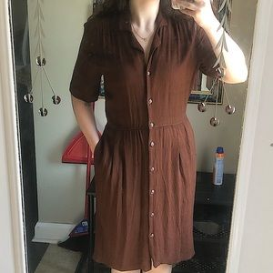 Vintage Brown Collared Button-Up Dress